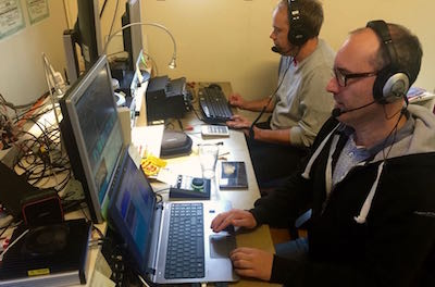 Patrik SM0MLZ running the SunSDR2 PRO in the multiplier position. Notice Patrik's headset, a ModMic boom mic attached to Bose noise cancelling headsets.